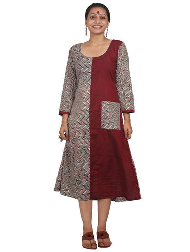 Dress - Maroon/Printed Half & Half with Pockets - Prathaa