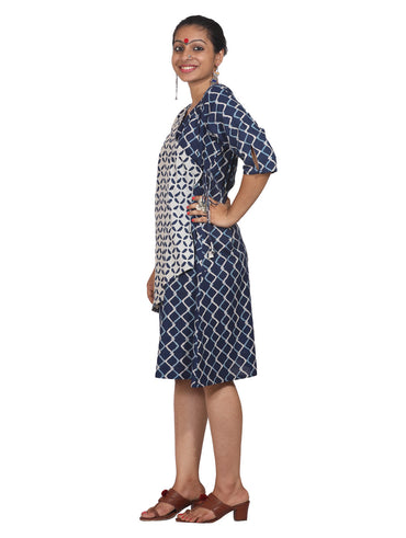 Dress - Indigo Print Overlap Dress - Prathaa