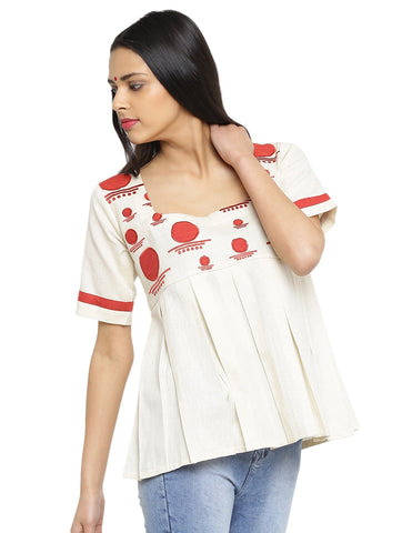Off White Handloom Box Pleat Flare Top