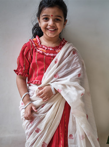 Kids Red Khesh Saree Blouse