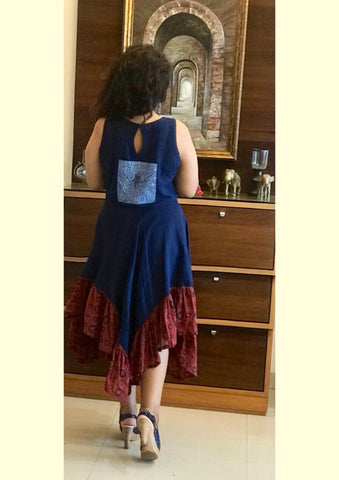Dress - Kala cotton indigo handkerchief dress with patch work. - Prathaa