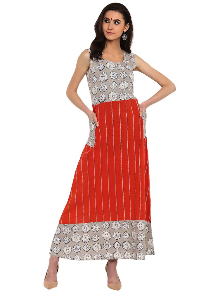 Dress - Orange Printed Khesh Dress With Pockets - Prathaa