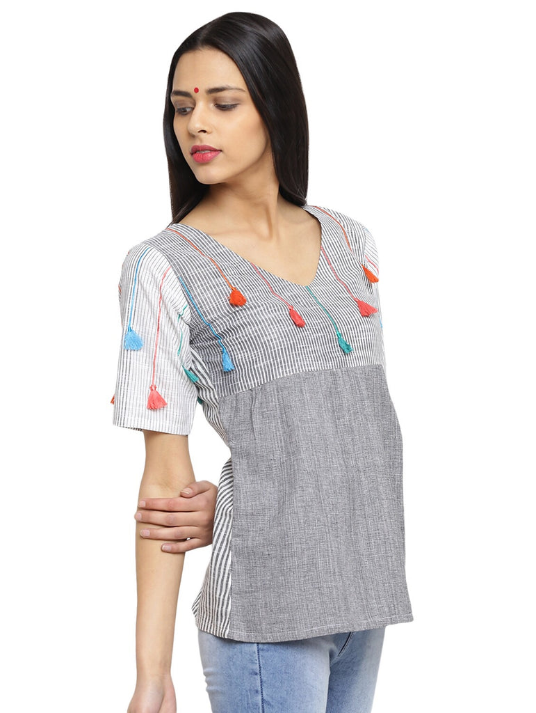 a7026157fe0793 Stripes and Tassels yoke top – Prathaa - weaving traditions