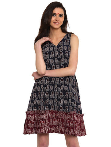 Dress - Block Print Hand-loom Cotton Dress - Prathaa