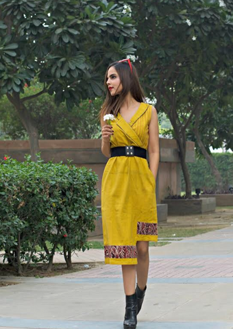 - Kala cotton mustard asymmetric dress - Prathaa