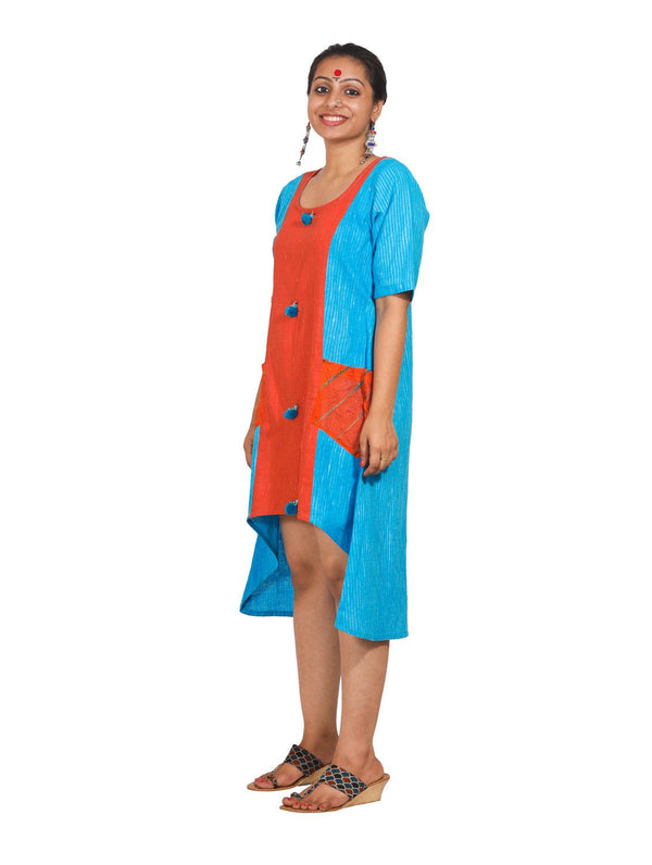 Color Block Handloom Asymmetrical Dress