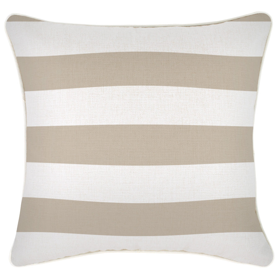 Cushion Cover-With Piping-Deck Stripe Beige-45cm x 45cm