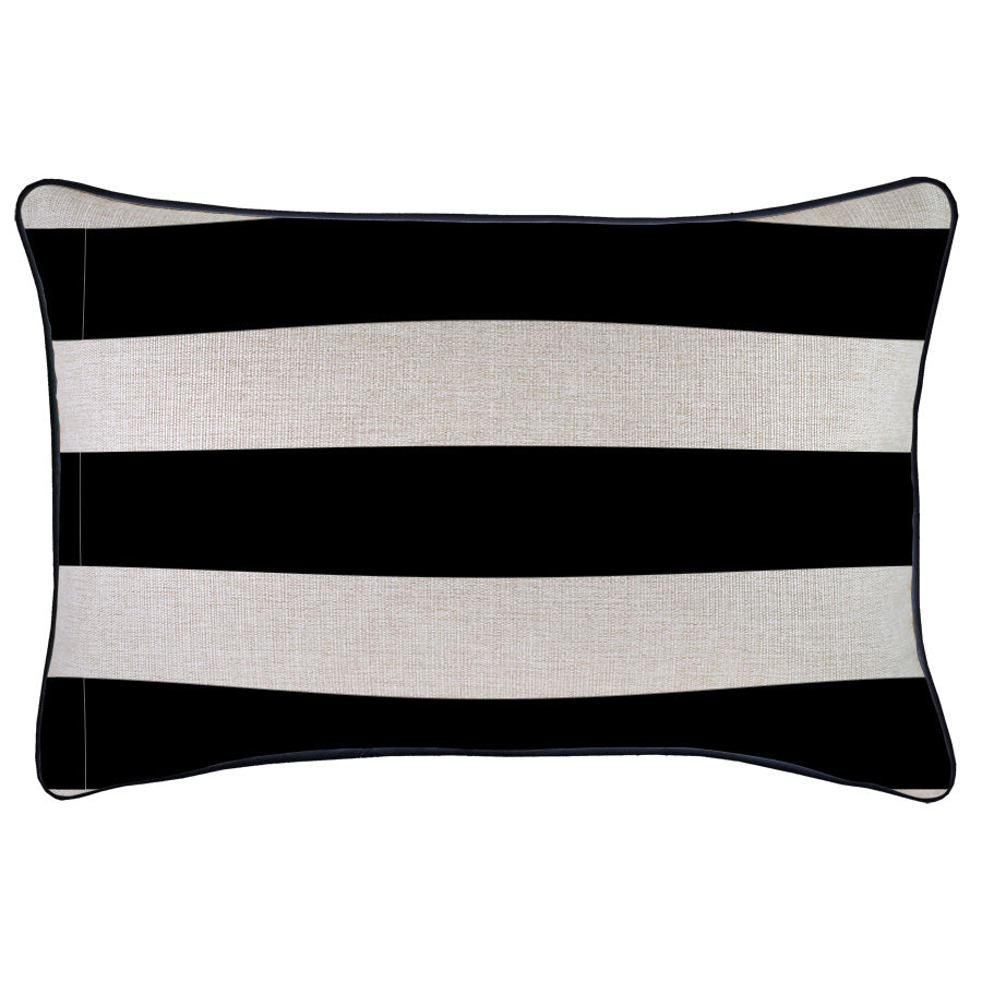Cushion Cover-With Black Piping-Deck Stripe Black / Natural Base-35cm x 50cm