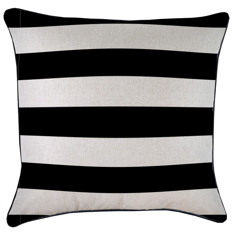 Cushion Cover-With Black Piping-Deck Stripe Black / Natural Base-60cm x 60cm