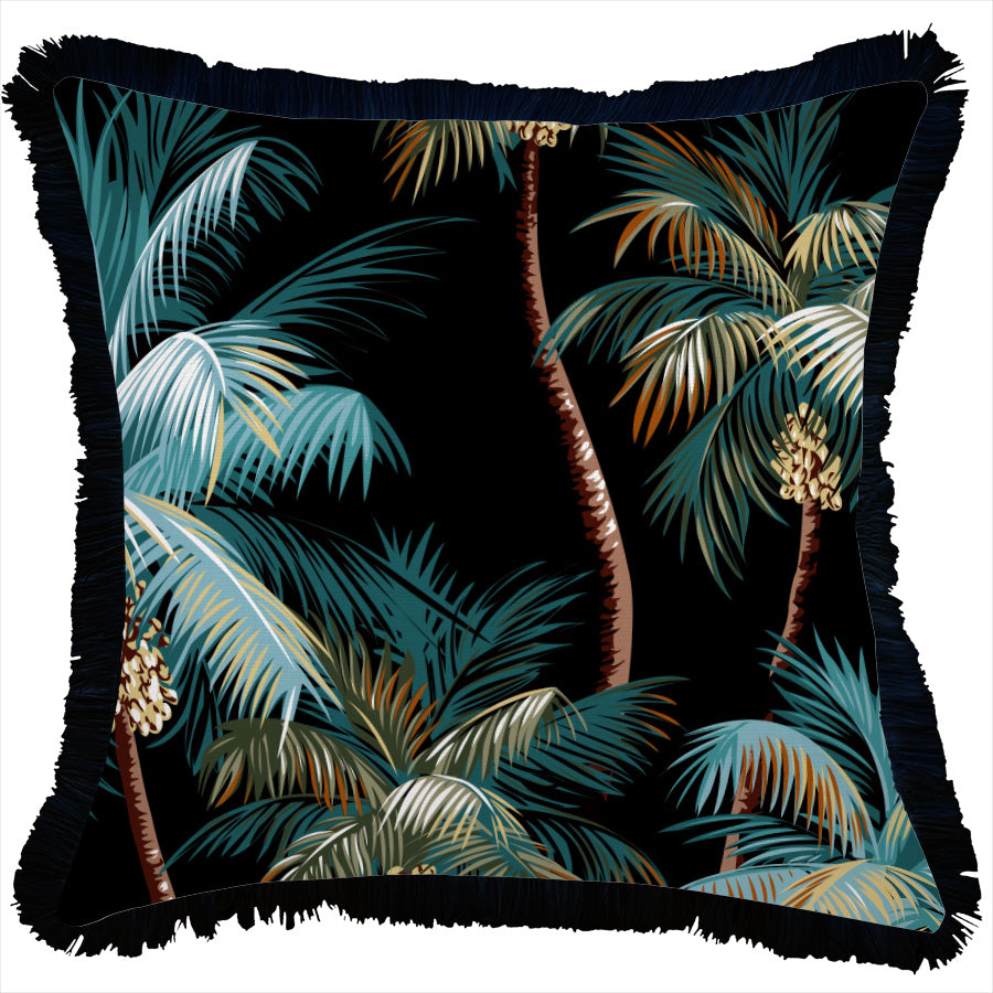 Cushion Cover-Coastal Fringe Black-Palm Trees Black-45cm x 45cm