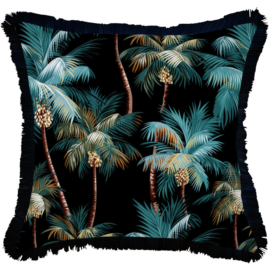 Cushion Cover-Coastal Fringe Black-Palm Trees Black-60cm x 60cm