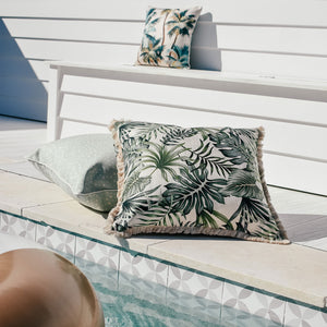 Cushion Cover-With Piping-Palm Trees Natural-45cm x 45cm