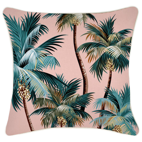 Cushion Cover-With Piping-Palm Trees Aqua-45cm x 45cm