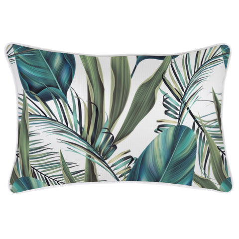 Cushion Cover-With Piping-Palm Trees White-45cm x 45cm