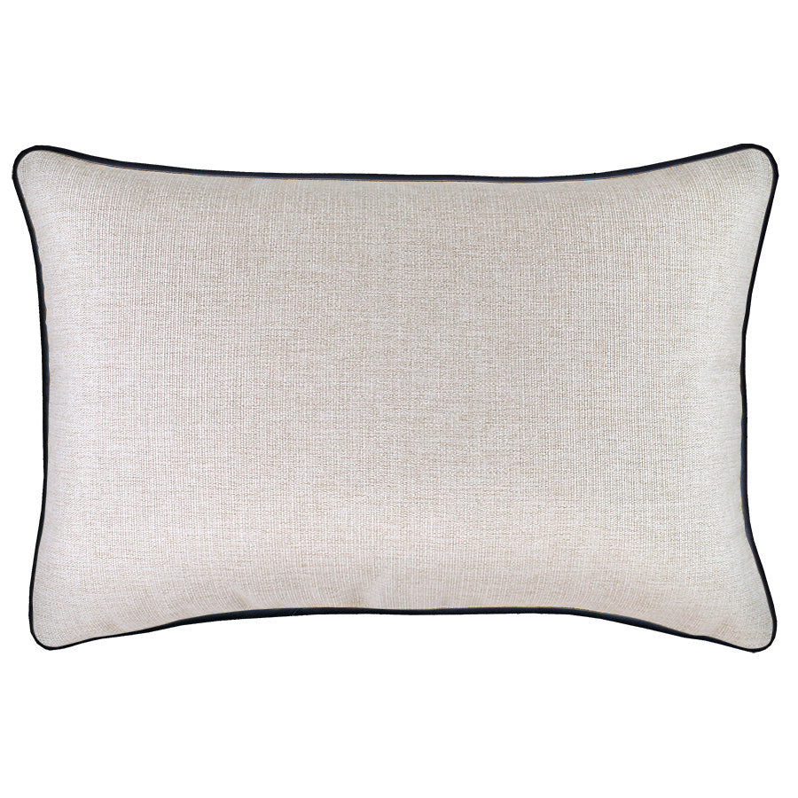 Cushion Cover-With Black Piping-Natural-35cm x 50cm