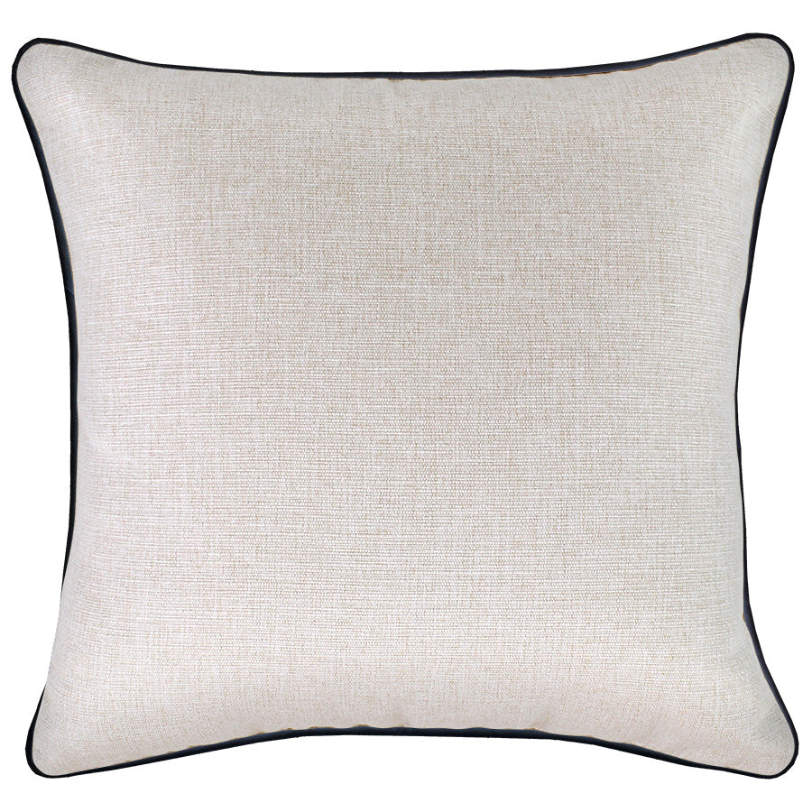 Cushion Cover-With Black Piping-Natural-45cm x 45cm