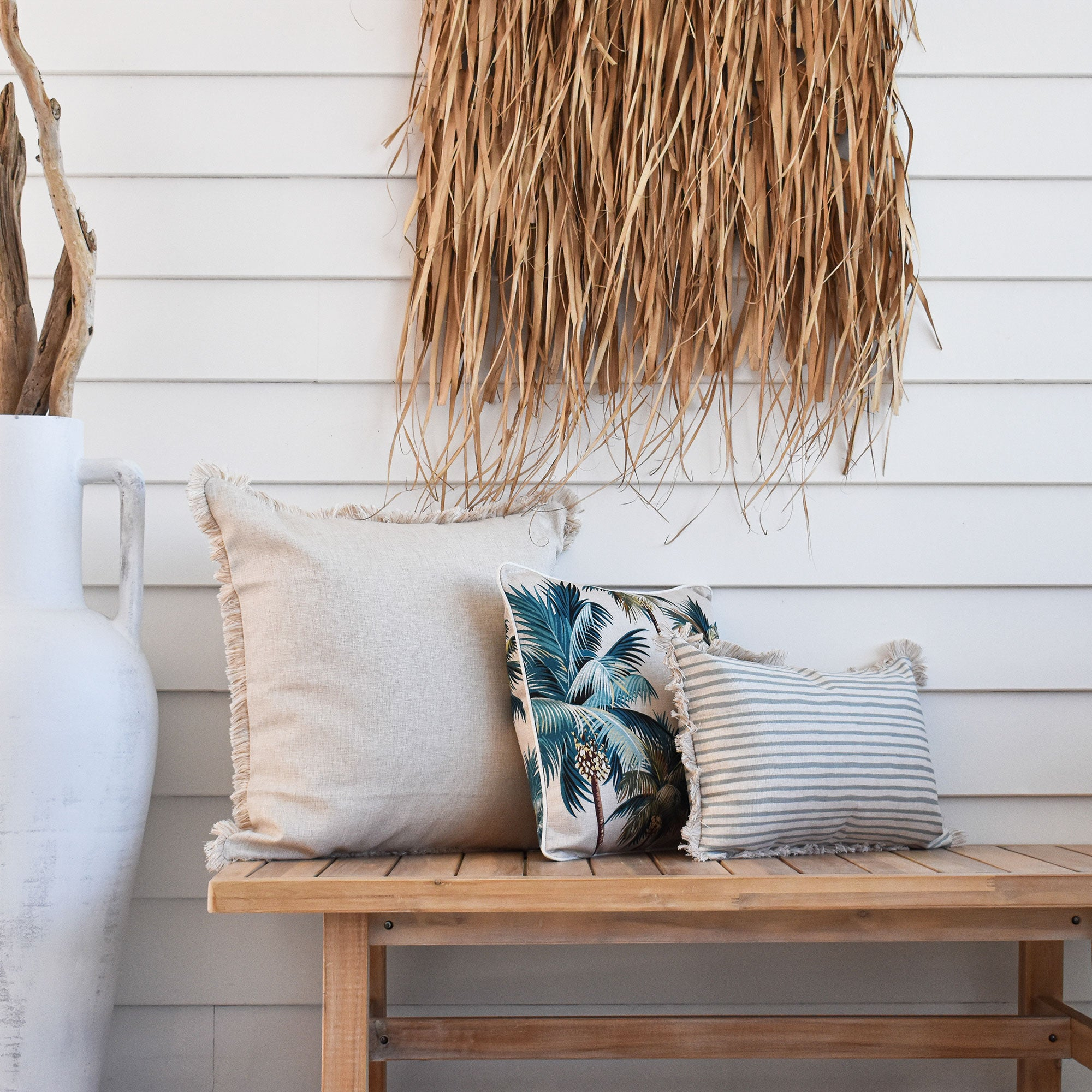 Cushion Cover-Coastal Fringe Natural-Solid Natural-60cm x 60cm