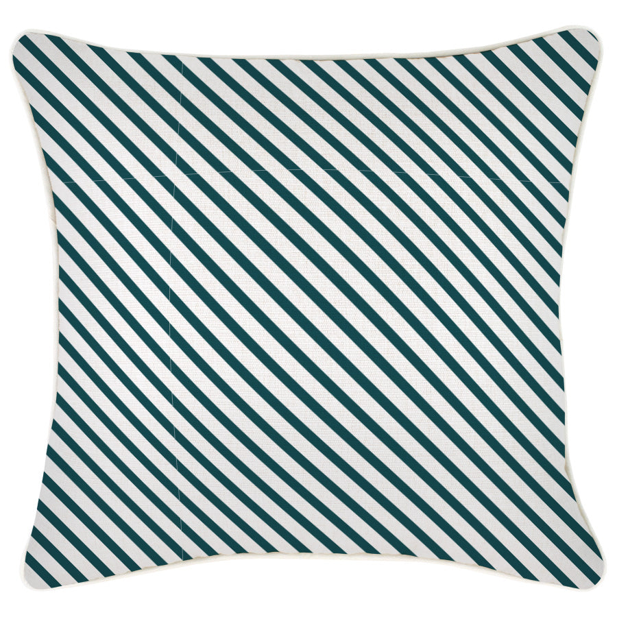 Cushion Cover-With Piping-Side Stripe Teal-45cm x 45cm
