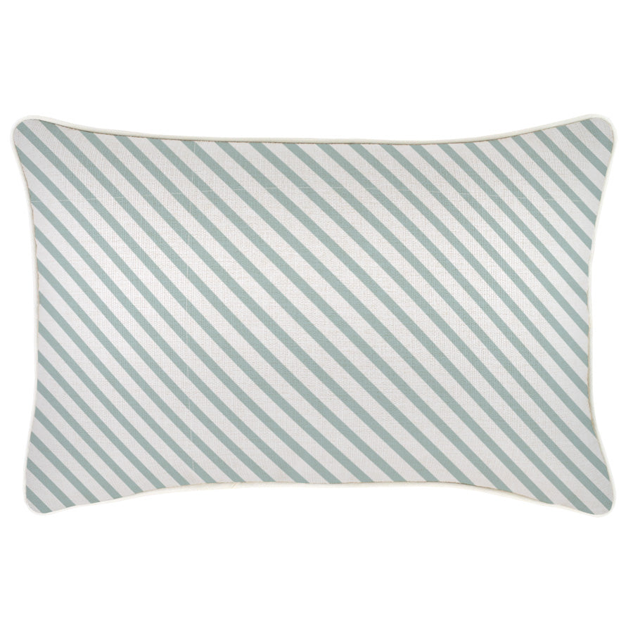 Cushion Cover-With Piping-Side Stripe Seafoam-35cm x 50cm
