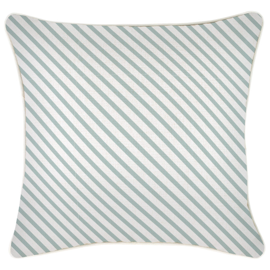 Cushion Cover-With Piping-Side Stripe Seafoam-45cm x 45cm