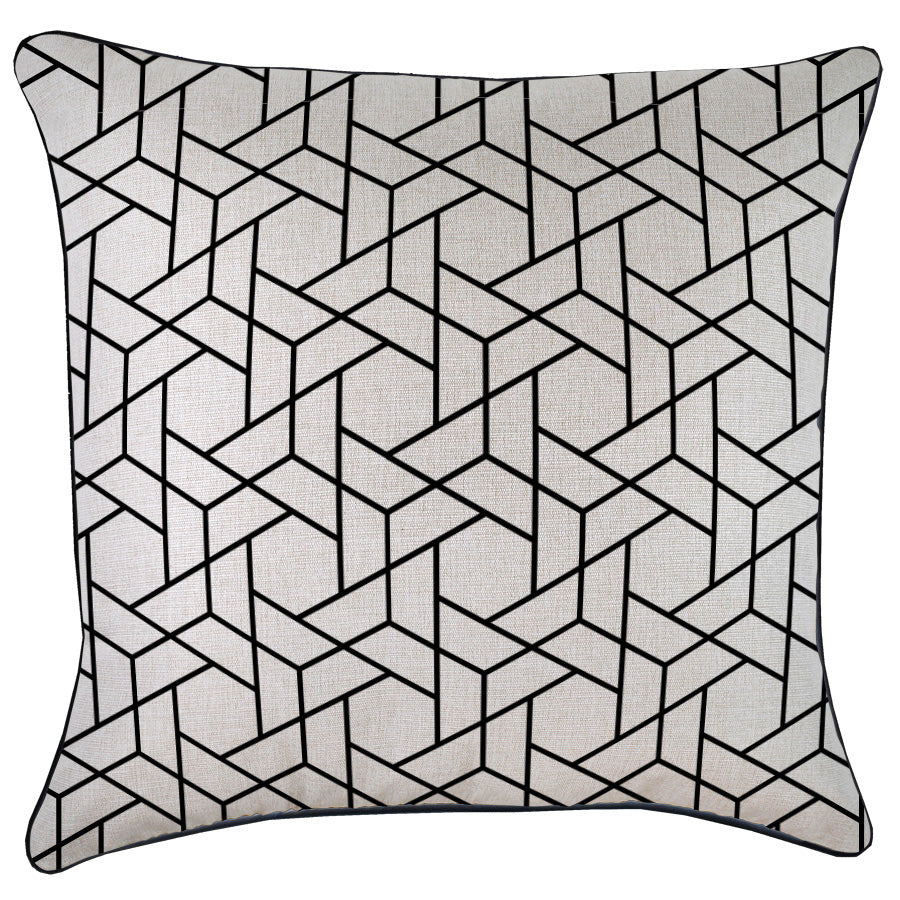 Indoor Outdoor Cushion Cover-With Black Piping-Milan Black-60cm x 60cm