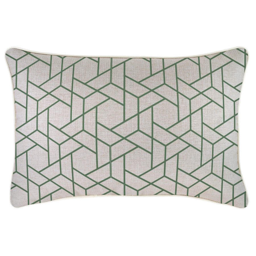 Indoor Outdoor Cushion Cover-With Piping-Milan Green-35cm x 50cm
