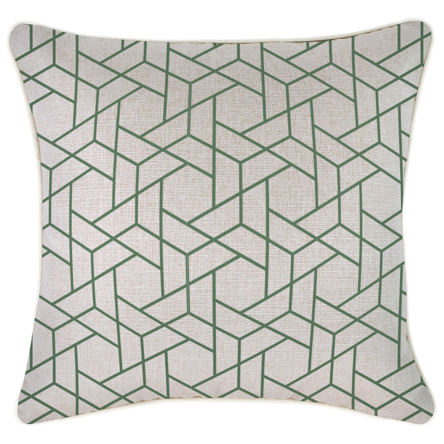Indoor Outdoor Cushion Cover-With Piping-Milan Green-45cm x 45cm