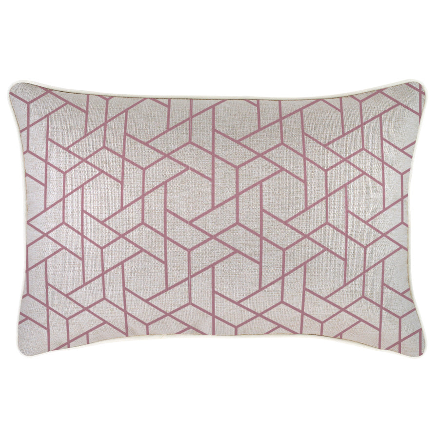Indoor Outdoor Cushion Cover-With Piping-Milan Rose-35cm x 50cm