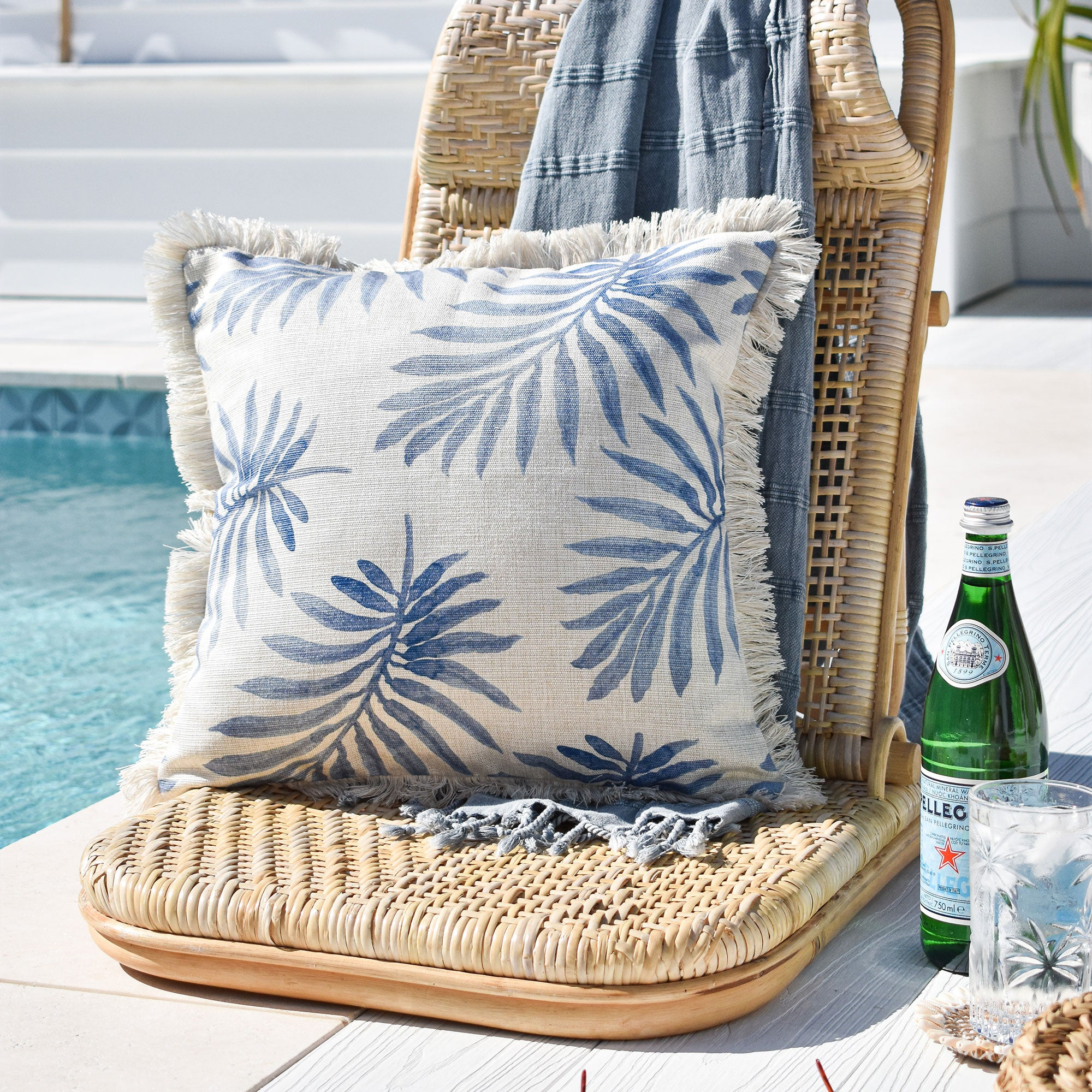 Cushion Cover-Coastal Fringe-Koh Samui-45cm x 45cm