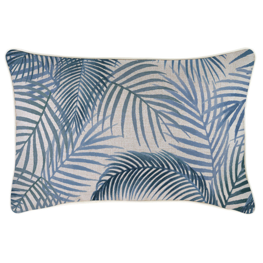 Indoor Outdoor Cushion Cover-With Piping-Seminyak Blue-35cm x 50cm