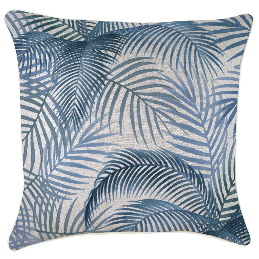 Indoor Outdoor Cushion Cover-With Piping-Seminyak Blue-60cm x 60cm