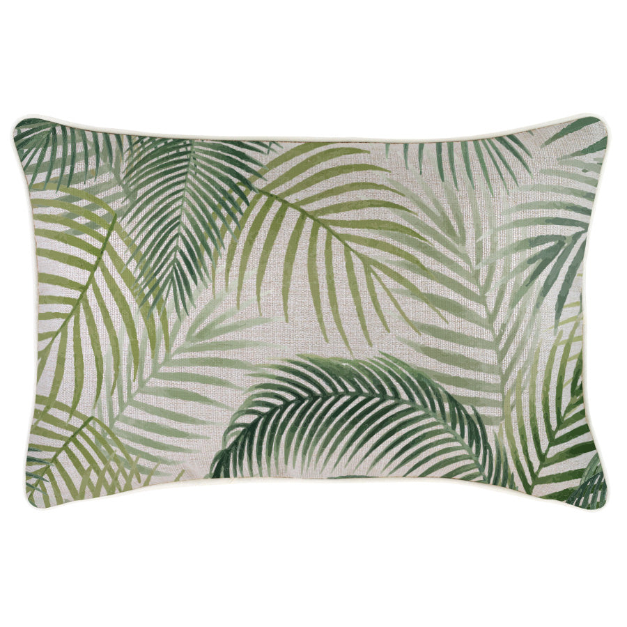 Indoor Outdoor Cushion Cover-With Piping-Seminyak Green-35cm x 50cm