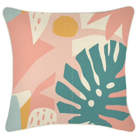 Cushion Cover-Coastal Fringe Natural-Side Stripe Peach-60cm x 60cm