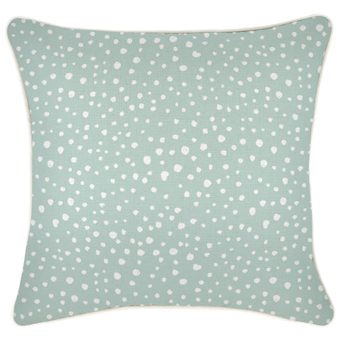 Cushion Cover-Coastal Fringe-Paint Stripes Pale Mint-60cm x 60cm