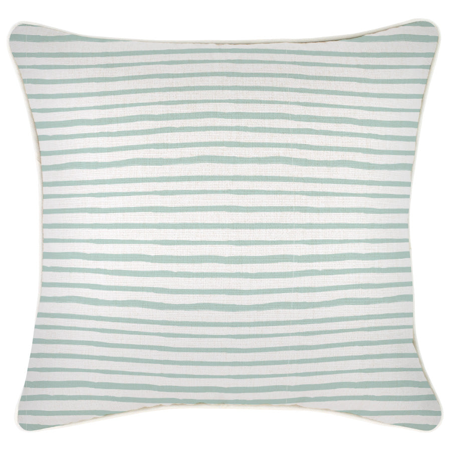 Cushion Cover-With Piping-Paint Stripes Pale Mint-45cm x 45cm