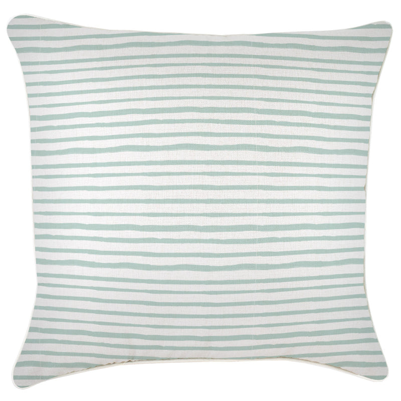 Cushion Cover-With Piping-Paint Stripes Pale Mint-60cm x 60cm