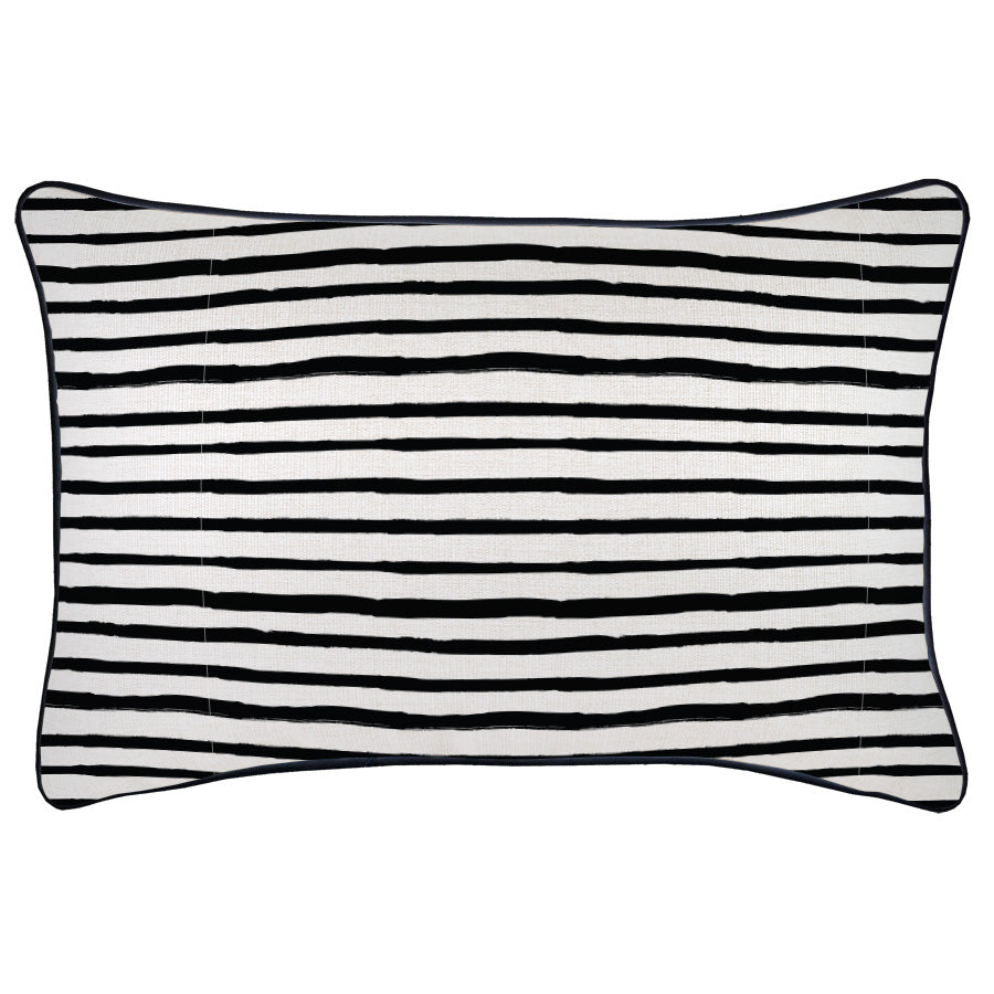 Cushion Cover-With Black Piping-Paint Stripes-35cm x 50cm