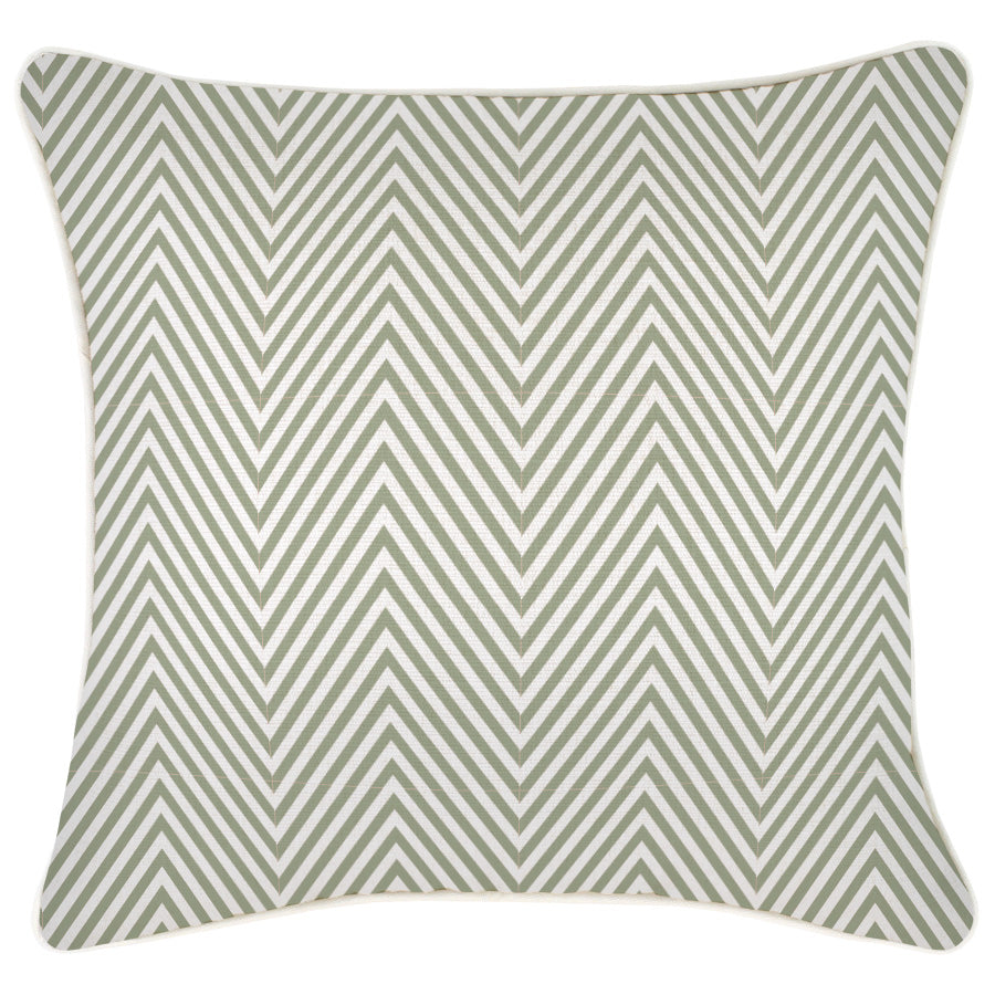 Cushion Cover-With Piping-Zig Zag Sage-45cm x 45cm