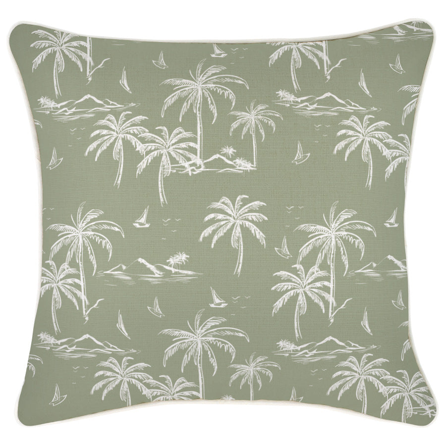 Cushion Cover-With Piping-Postcards Sage-45cm x 45cm