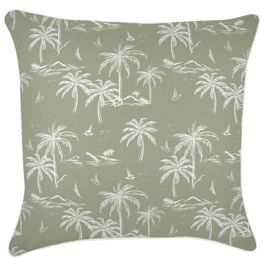 Cushion Cover-With Piping-Postcards Sage-60cm x 60cm