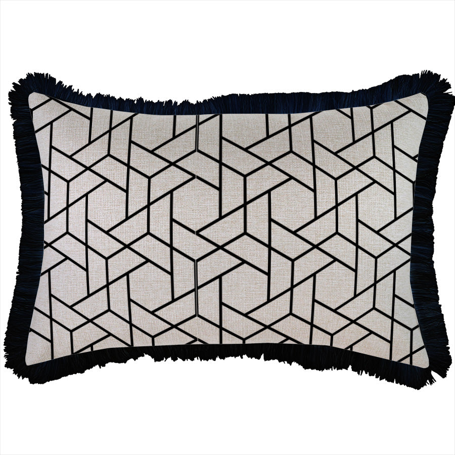 Indoor Outdoor Cushion Cover-Coastal Fringe Black-Milan Black-35cm x 50cm