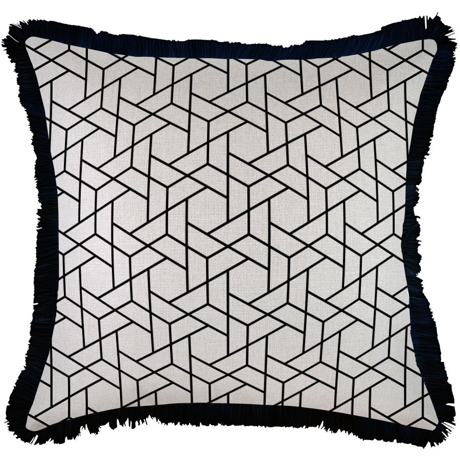Indoor Outdoor Cushion Cover-Coastal Fringe Black-Milan Black-60cm x 60cm