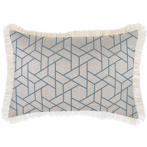 Indoor Outdoor Cushion Cover-Coastal Fringe-Milan Green-60cm x 60cm