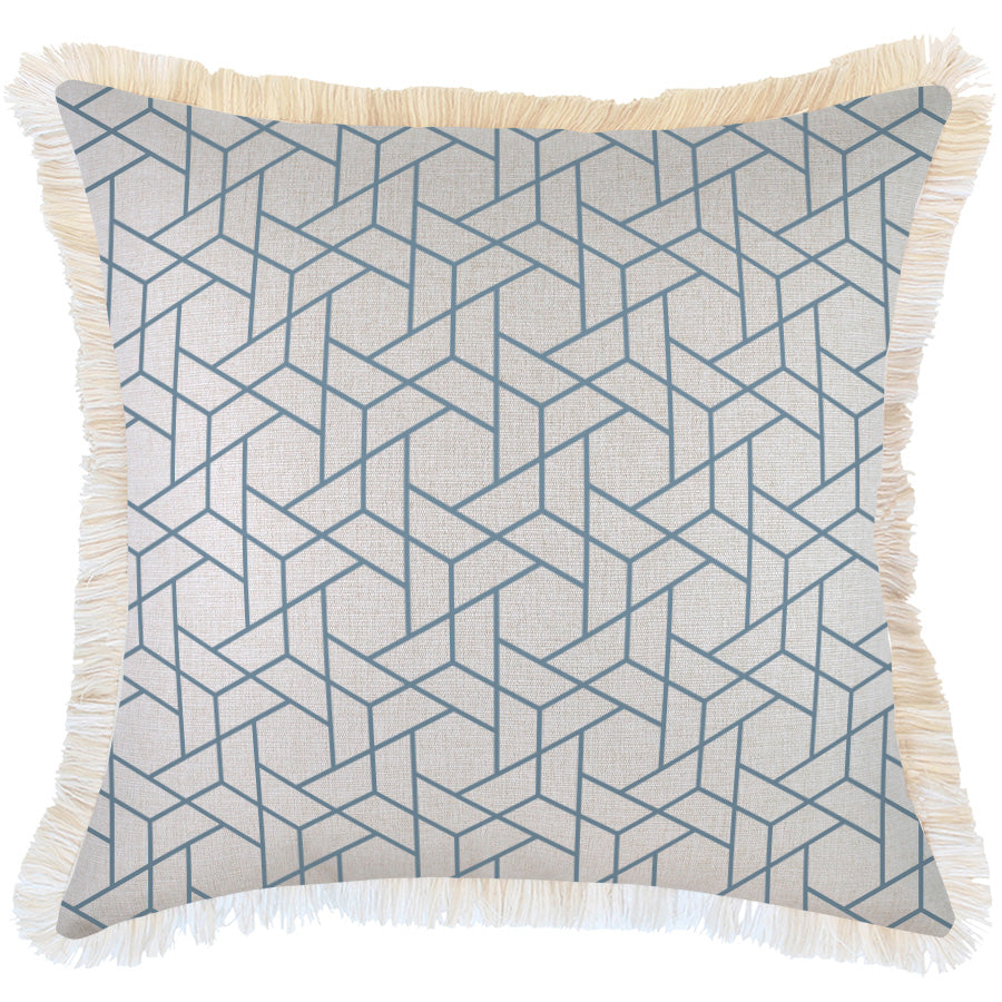 Indoor Outdoor Cushion Cover-Coastal Fringe-Milan Blue-60cm x 60cm