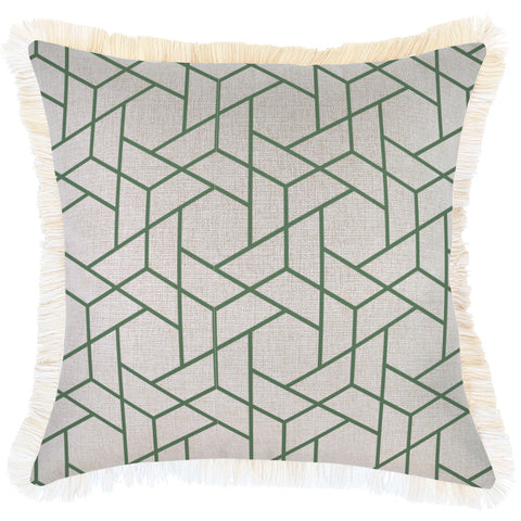Indoor Outdoor Cushion Cover-Coastal Fringe-Seminyak Green-45cm x 45cm