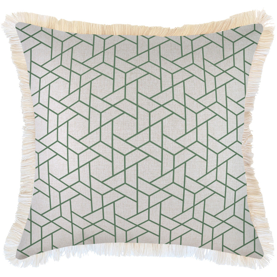 Cushion Cover-Coastal Fringe-Milan Green-60cm x 60cm