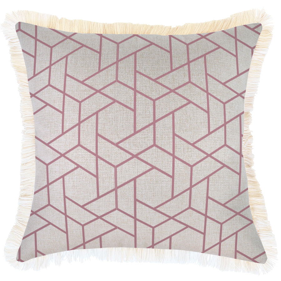 Indoor Outdoor Cushion Cover-Coastal Fringe-Milan Rose-45cm x 45cm