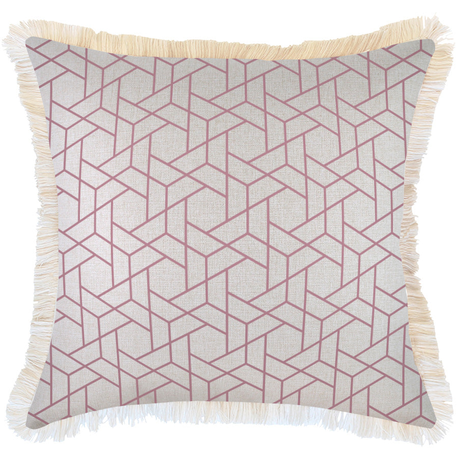 Indoor Outdoor Cushion Cover-Coastal Fringe-Milan Rose-60cm x 60cm