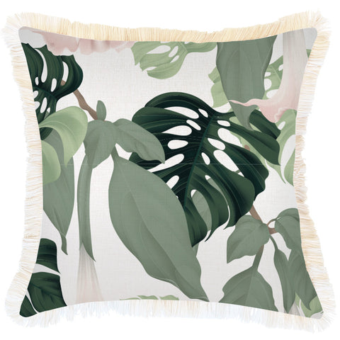Indoor Outdoor Cushion Cover-Coastal Fringe-Seminyak Green-35cm x 50cm