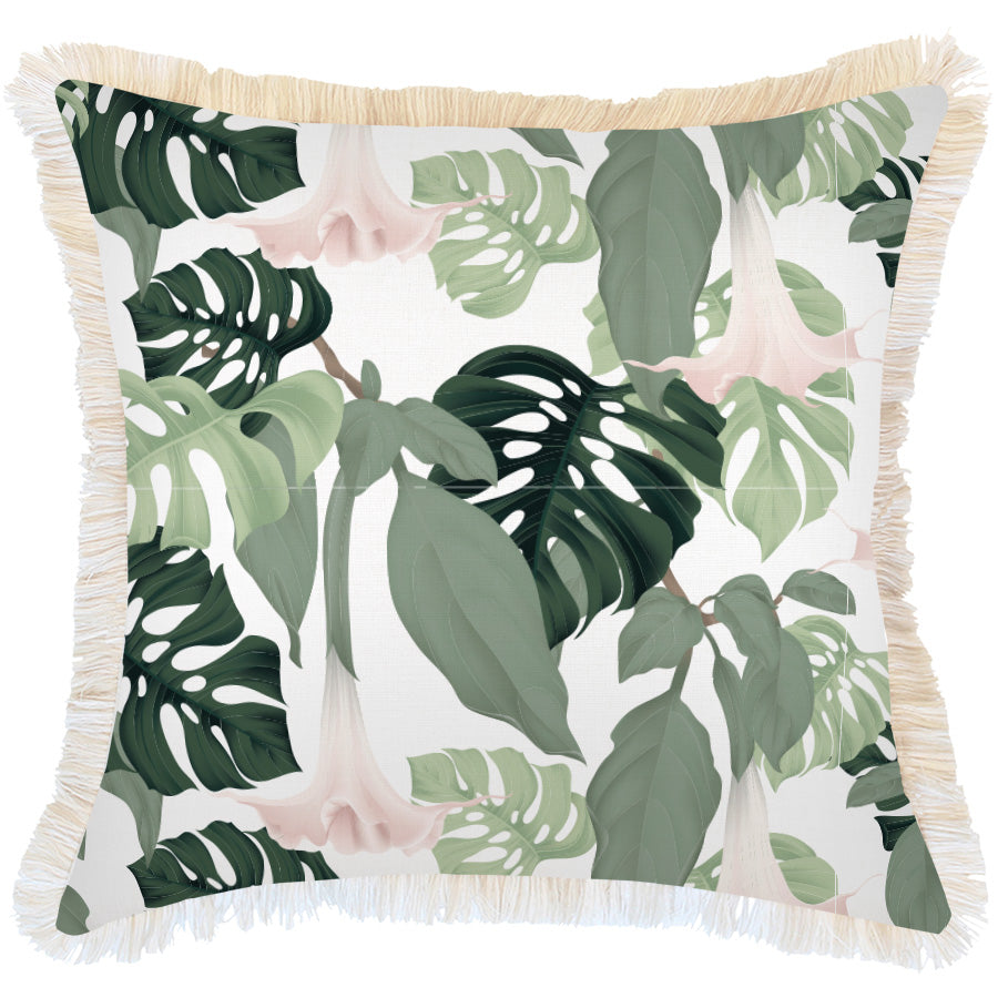 Indoor Outdoor Cushion Cover-Coastal Fringe-Hanoi-60cm x 60cm